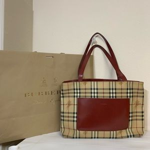 Authentic Burberry pvc shoulder bag red and beige